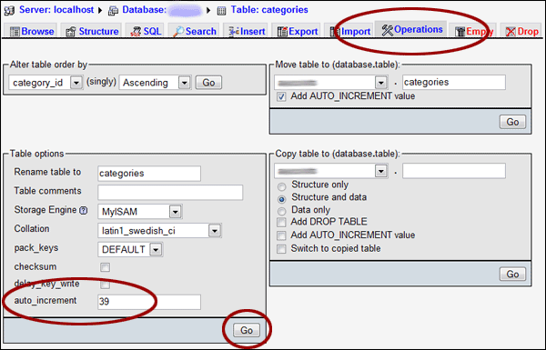 resetting the mysql auto increment value with phpmyadmin