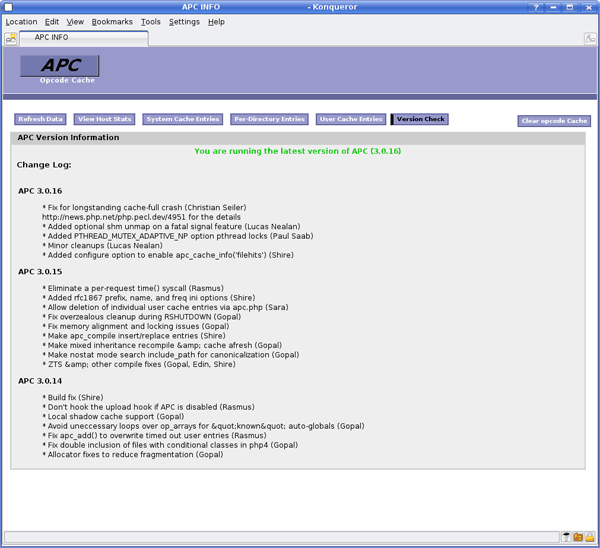 php apc cache screenshot