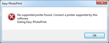 no supported printer found. connect a printer supported by this software