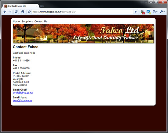 contact page on the fabco website