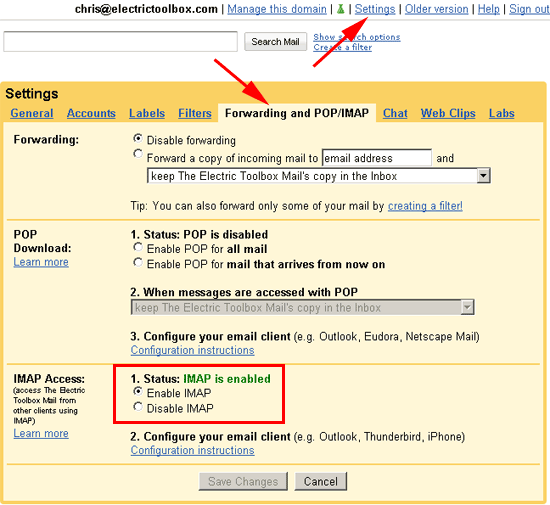 gmail settings - enable imap