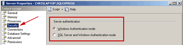 change to sql server and windows authentication mode